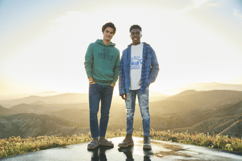 American Eagle BTS '21 'Future Together. Jeans Forever' Campaign Chase Stokes, Caleb McLaughlin Photo Credit: AEO, Inc.