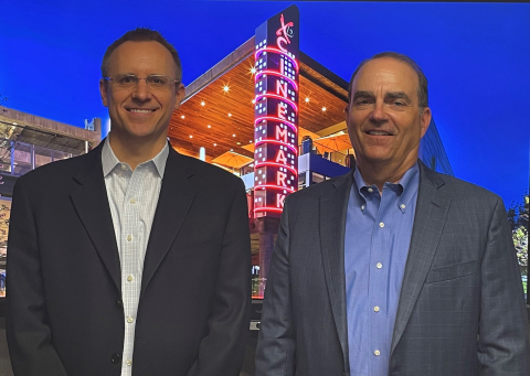 Cinemark announces succession plan.  Mark Zoradi (right) announces retirement from Cinemark at the end of the year and Sean Gamble (left) is named as successor to CEO. (Photo: Cinemark)