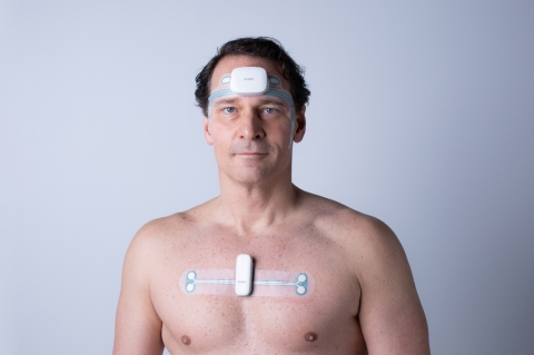 The model is wearing the head and chest patch of Onera STS innovative PSG system. (Photo: Business Wire)
