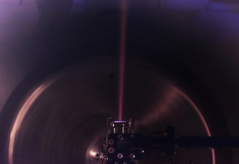 Momentus' latest-generation thruster undergoes testing in a vacuum chamber at company headquarters. (Photo: Business Wire)