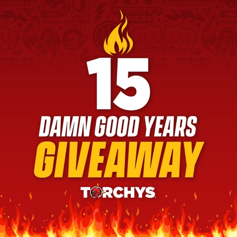 Torchy's Tacos is celebrating its 15th birthday by giving away a few gifts of its own! Fans can enter to win exclusive Torchy's experiences like Tacos for 15 Years; a VIP trip for two to Torchy's hometown of Austin, including the chance to taste future tacos of the month & more innovations; a Taco Truck or catered taco party and more! Visit https://tacojunkies.torchystacos.com/signup and pre-enroll in the Taco Junkies Rewards Club through Aug. 31, 2021 to be entered to win – and be among the first to earn delicious rewards when Taco Junkies launches soon. (Graphic: Business Wire)