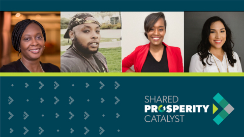 Four entrepreneurs-Celena Green, Dr. Kortney Ziegler, LaToria Pierce, and Santana Perez-have been selected to join Ventures for Shared Prosperity to design and launch new technologies that alleviate the hidden costs of living in poverty in the U.S. (Graphic: Wells Fargo)