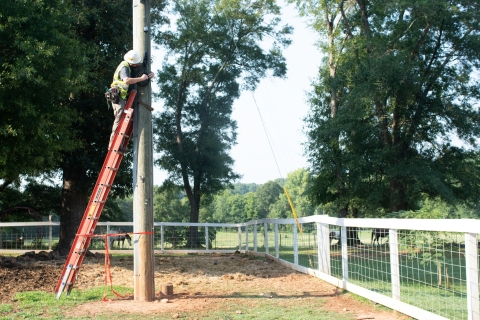 Comporium connects one of York Electric Cooperative's first members who benefited from the partnership to build out the high-speed, fiber-optic internet infrastructure in the previously underserved areas of York Electric's service territory. (Photo: Business Wire)