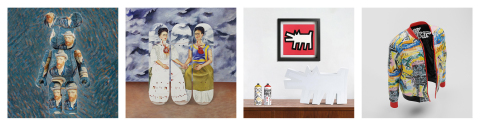 From left to right: 1) Medicom Toy collaboration BE@RBRICK / Van Gogh Museum. 2) Musart Skateboard Triptych collaboration / Banco de México - Diego Rivera Frida Kahlo Museums Trust. 3) Medicom Toy collaboration / Keith Haring Foundation. 4) Reason Clothing collaboration / Basquiat Estate. (Foto: Musart)