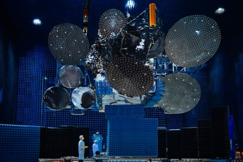 All of Star One D2's reflectors are deployed as it undergoes testing in the Compact Antenna Test Range at Maxar's manufacturing facility in Palo Alto, California. Image credit: Maxar.