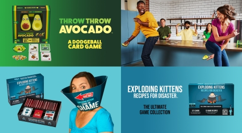 Exploding Kittens launches two new games: Throw Throw Avocado and Exploding Kittens: Recipes for Disaster. (Photo: Business Wire)