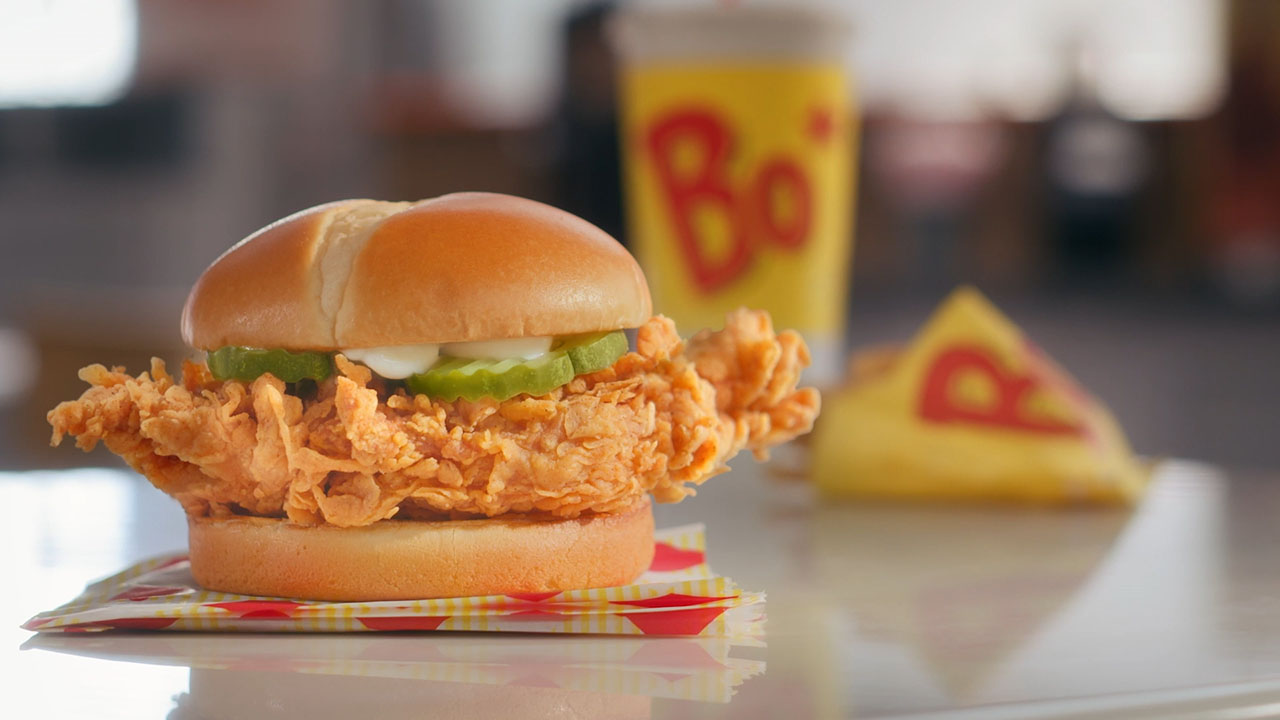 B-Roll of the Bo's Chicken Sandwich in all its glory.