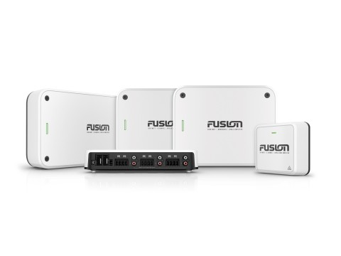 Exclusively designed for Fusion marine entertainment systems, the Apollo Series amplifiers boost power and enhance audio clarity for a superior onboard entertainment experience. (Photo: Business Wire)