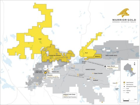 Map 1. Location Map of Warrior Gold's new KLW and KLC land packages. (Graphic: Business Wire)