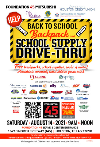The 2021 Back to School Backpack and School Supply Drive-Thru will take place at Foundation 45 Mitsubishi (Houston, TX) the morning of August 14th. Donations, volunteers, and sponsors needed! (Graphic: Business Wire)