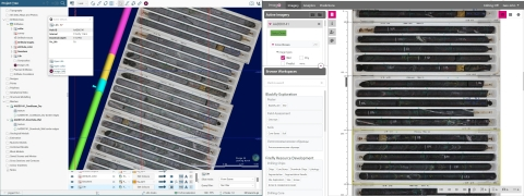 Core boxes displayed in Imago's platform (right) and in Leapfrog Geo (left). The geologist clicks the drill hole trace to display the corresponding core photos in Imago, as a drill hole, at the correct path. The geologist is able to continuously validate the logs and assays using the original images of the rock material. (Photo: Business Wire)