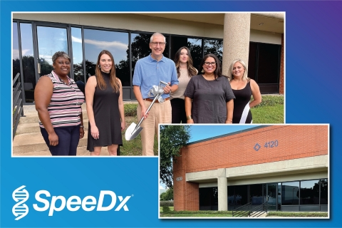 Representatives of the SpeeDx US team gather to celebrate the expansion of laboratory facilities that will extend access to innovative technology and accelerate product development timelines. From L-R: Kim Hardy, Field Application Specialist; Cassandra Ingles MPH, Director Clinical Operations; Dr Charles Cartwright, Snr VP Clinical Affairs; Sherilyn Garcia, Clinical Coordinator; Diana Sanchez, Product Manager; Lesley Larsen, Office Manager. (Photo: Business Wire)