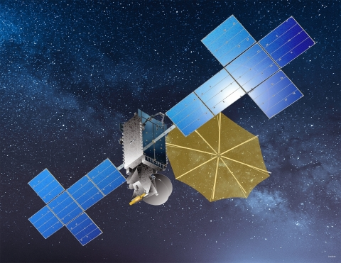 This rendering shows what the Maxar-built SXM-9 will look like once on orbit. Image credit: Maxar.