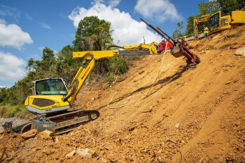 GeoStabilization International uses the new Remote Operated Launcher System to provide flexible and customizable slope stability critical for maintaining safe and sustainable infrastructures. (Photo: Business Wire)