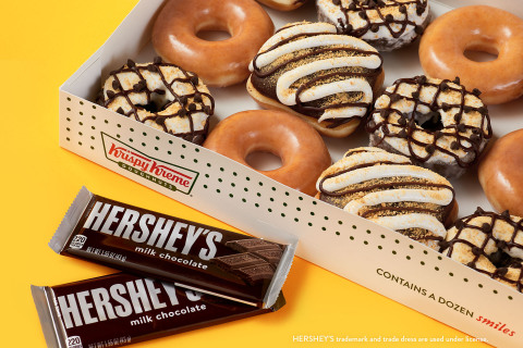 Starting Aug. 10, enjoy two delicious doughnuts that combine Krispy Kreme's marshmallowy KREME™ with Hershey's chocolate goodness (Photo: Business Wire)