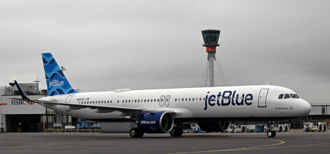 JetBlue's inaugural flight from New York-JFK to London Heathrow Airport arrives in the U.K. on August 12, 2021, marking the first-ever transatlantic service by the U.S.-based travel company. (Photo: Business Wire)
