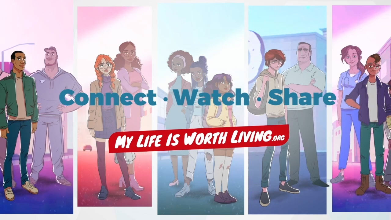 Welcome to My Life is Worth Living! We have created the first animated series about suicide prevention. We tell stories about teens who have had thoughts about suicide, and how it is ok to need and ask for help.