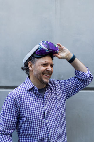 LARVOL CEO Bruno Larvol in his VR headset, where he'll be running the business for the next year. (Photo: Business Wire)