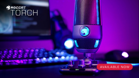 The all-new ROCCAT Torch USB microphone in desktop mode with the attached base and mixer-style controls. Now available for $99.99 at participating retailers worldwide. (Photo: Business Wire)