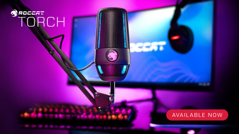 The all-new ROCCAT Torch USB microphone is also compatible with a wide range of boom arms. The Torch's mic module can be separated from the base while still maintaining full use of the mixer-style controls on the desktop. Now available for $99.99 at participating retailers worldwide. (Photo: Business Wire)