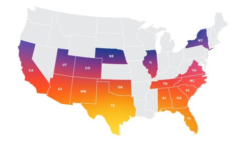 Map represents states covered and is not meant to represent actual coverage areas, which are county- and in some cases zip-code specific. All coverage areas are subject to benefit plan approval by the Centers for Medicare & Medicaid Services (CMS) and/or final state regulatory approval, including requisite state insurance or HMO licensure approvals. (Graphic: Business Wire)
