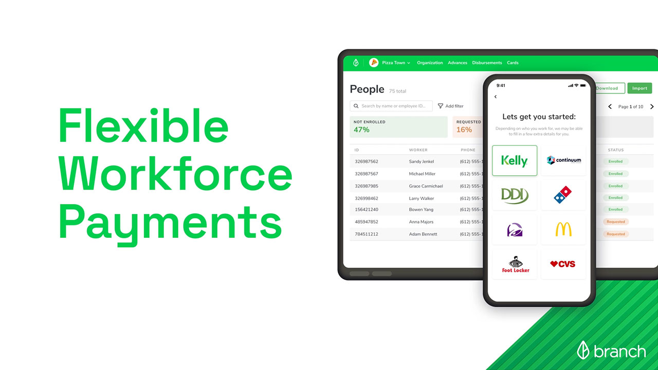 Branch helps businesses deliver fast, flexible payments to workers and empower them financially.