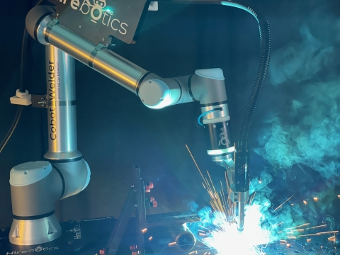 Welding and plasma cutting are now one of Universal Robots' fastest growing markets as metal fabricators start to deploy cobot-powered solutions at a rapid speed. Nowhere is this trend more visible than at FABTECH 2021 where 20+ booths will showcase new cobot-powered fabricating applications. One example is Hirebotics' new user-friendly Cobot Welder, performing collaborative arc welding (Photo: Business Wire)