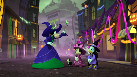 """""""Mickey's Tale of Two Witches"""" (Thursday, Oct. 7, on Disney Junior) – On Halloween, Mickey tells Pluto a story about two witches-in-training, Minnie the Wonderful and Daisy Doozy, who must pass four tests to graduate from the Witch Academy in Happy Haunt Hills. (Photo Credit: Disney Branded Television)"""