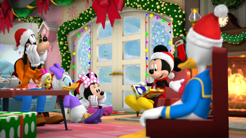 """""""Mickey and Minnie Wish Upon a Christmas"""" (Thursday, Dec. 2, on Disney Junior) – After a series of mishaps, Mickey, Minnie and the gang are separated all over the world and must try to get back to Hot Dog Hills by Christmas Eve. A mysterious and jolly stranger shows up to tell them about The Wishing Star, which could be the secret to bringing everybody home in time to celebrate together. (Photo Credit: Disney Branded Television)"""
