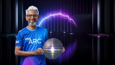 Raja Koduri, Intel senior vice president and general manager of the Accelerated Computing Systems and Graphics Group, displays a wafer with Intel Arc high-performance discrete graphics hardware as part of a presentation during Intel Architecture Day 2021. The virtual event was held in August 2021. (Credit: Intel Corporation)