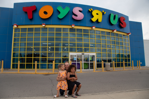 Doug Putman, founder of Putman Investments, visits a Toys'R'Us store in Hamilton, Ontario earlier this summer with his daughter Hadley and niece Anna Gloria. Putman Investments announced, Aug. 19, 2021, its intention to purchase Toys'R'Us and Babies'R'Us Canada. Photo credit: Danielle Donville.