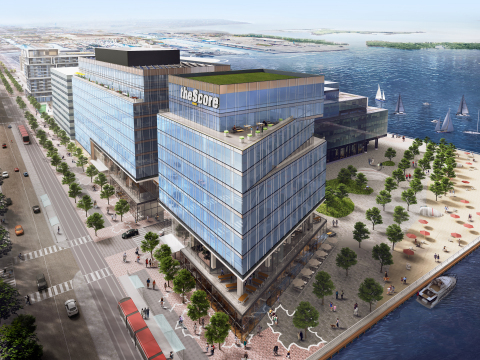 theScore's future headquarters at the Waterfront Innovation Centre, a cutting-edge complex on Toronto's Sugar Beach. Artist's rendering shows view looking southeast. (Photo: Business Wire)