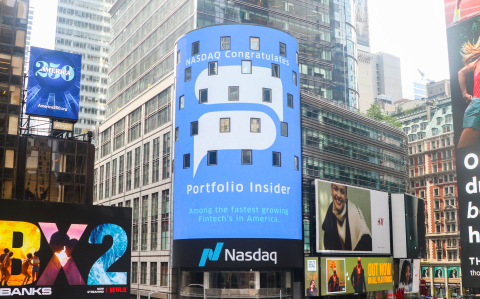 On Thursday, August 11, 2021, NASDAQ's Times Square New York City LED screen displayed a congratulatory message to artificial intelligence-powered financial insights platform Portfolio Insider. (Photo: Business Wire)