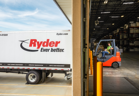 A forklift operator loads a Ryder truck at a supply chain warehouse. The company is named by Inbound Logistics as a Top 100 3PL for 2021 for supply chain excellence. (Photo: Business Wire)