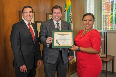 Spectrum Chemical receives Certificate of Recognition on 50th anniversary. L. to R.: Jobe Dubbs, Spectrum Chemical Vice President of Marketing, Myles Payne, Spectrum Chemical Chief Financial Officer, and City of Gardena Mayor Tasha Cerda. (Photo: Business Wire)