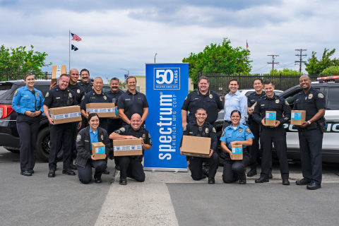 Spectrum Chemical donates PPE of 1,500 N95 respirator masks and cases of hand sanitizer to first responders of the Gardena, CA Police Department. (Photo: Business Wire)