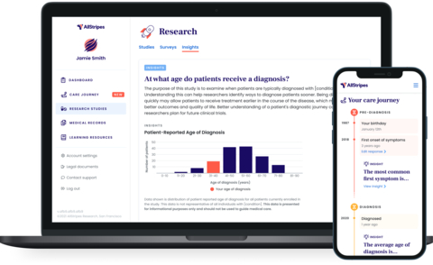 The AllStripes technology platform generates FDA-ready evidence to accelerate rare disease research and drug development, as well as a patient application that empowers patients and families to securely participate in treatment research online and benefit from their own medical data. (Photo: Business Wire)