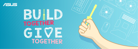 Join in with ASUS and industry partners for the Build Together, Give Together challenge benefitting the charity of your choice! (Graphic: Business Wire)