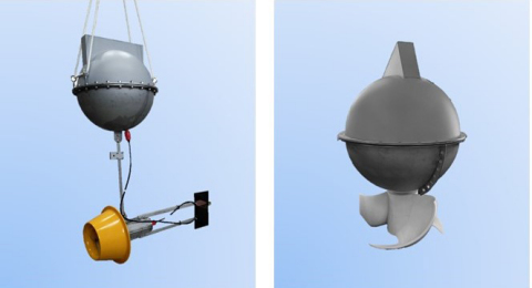 Energy Harvesting Smart Buoys. Left: SLTT (Small Lens-type Tidal Turbines), Right: VTT (Vertical-axis Tidal Turbines) (Graphic: Business Wire)