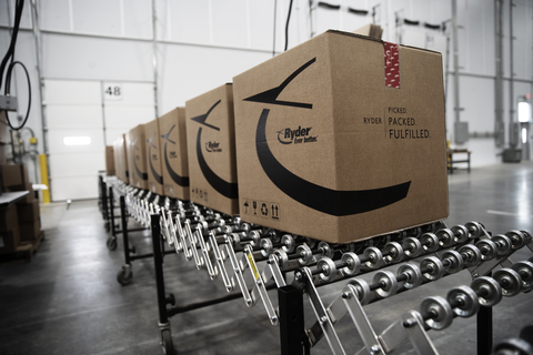 Boxes sit on a conveyor system at a Ryder e-commerce fulfillment warehouse, where they'll be loaded on trucks headed for their final destination. The company expanded its e-commerce fulfillment solution last year to include food-grade compliant facilities, which deliver to at least 95% of U.S. consumers in two days or less. (Photo: Business Wire)