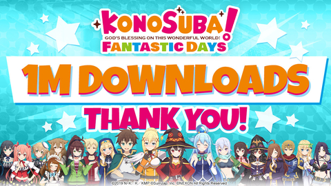 KonoSuba: Fantastic Days - 1 Million Downloads (Graphic: Business Wire)