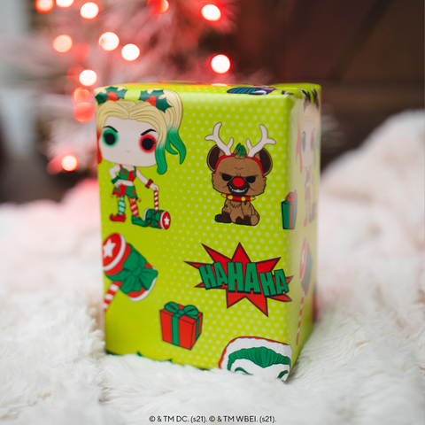 Funko Pop!-inspired wrapping paper featuring DC Comics characters. (Photo: Business Wire)