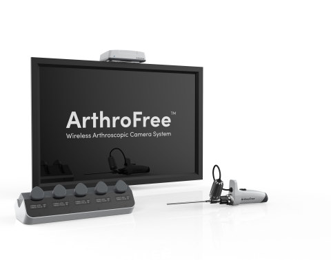 The novel ArthroFree™ platform, when approved, is expected to be the world's first FDA approved fully wireless, minimally invasive modular camera system for the operating room, featuring the patented Meridiem™ light engine. (Photo: Business Wire)