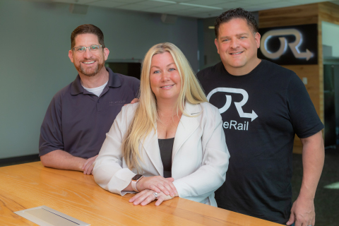 OneRail Leadership Team (L to R) Jeff Flowers COO/CFO, Lisa Catania VP of Customer Sucess/Founder, and Bill Catania CEO/Founder. OneRail is a team of technologists, retail tech pioneers, and supply chain experts who have built and scaled large enterprise networks across several industry verticals. Learn more @ OneRail.com. (Photo: Business Wire)