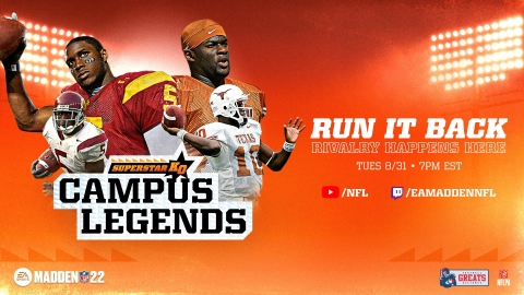 Catch Reggie Bush and Vince Young face off in Madden NFL 22 Superstar KO mode on NFL YouTube tonight at 7pm ET (Graphic: Business Wire)
