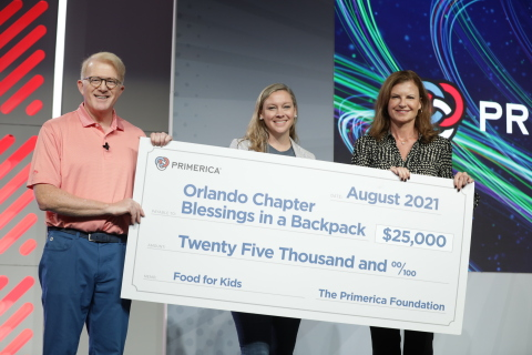 Left to right: Peter Schneider, Primerica President; Sarah Carlson, Managing Director - Blessings in a Backpack - Orlando; and Kathryn Kieser, Primerica Executive Vice President and Chair of The Primerica Foundation. (Photo: Business Wire)