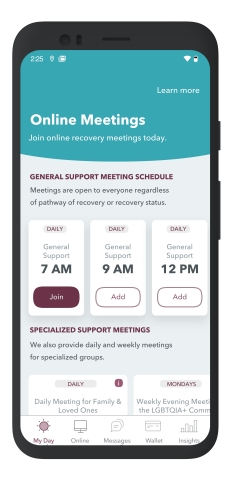 WEconnectRecovery provides access to free mobile recovery support meetings throughout the day  to accommodate every schedule, with discussions led by peer recovery support specialists who have firsthand experience and understand what members are going through. There are specialized support meetings - for harm reduction, women, family members supporting individuals living with an SUD, and the LGBTQIA+ community (Graphic: Business Wire)