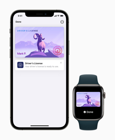 Driver's licenses and state IDs in Apple Wallet provide an easy, fast, and more secure way for people to present their driver's license or state ID from their iPhone or Apple Watch. (Graphic: Business Wire)