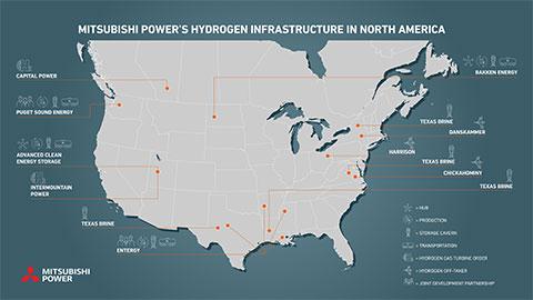 Com consultoria financeira estratégica do Citigroup Global Markets, Inc., a Mitsubishi Power continuará construindo sua infraestrutura de hidrogênio na América do Norte para fabricar hidrogênio limpo e acessível, amplamente disponível. Apresentada: infraestrutura de hidrogênio da Mitsubishi Power na América do Norte. (Crédito: Mitsubishi Power)