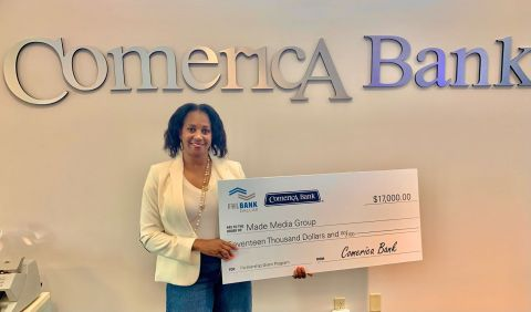 Anita C. Roberts, president of Made Media Group of Austin, Texas, poses with a ceremonial $17,000 check celebrating the organization's Partnership Grant Program funding from Comerica Bank and the Federal Home Loan Bank of Dallas. (Photo: Business Wire)